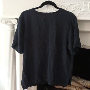 Vtg. 100% Silk Black Loose Short-Sleeve